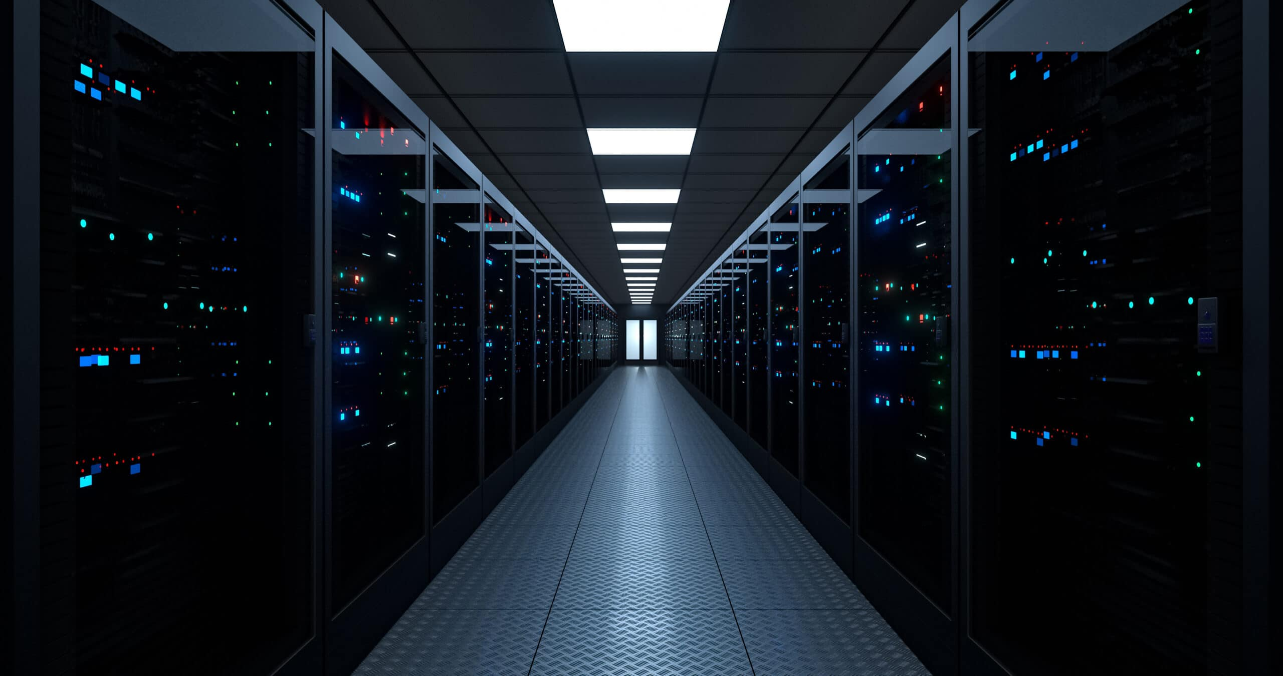 Server room, Data Center. Hosting services. Dark Server Room. Big Data Storage. cloud computing technology.